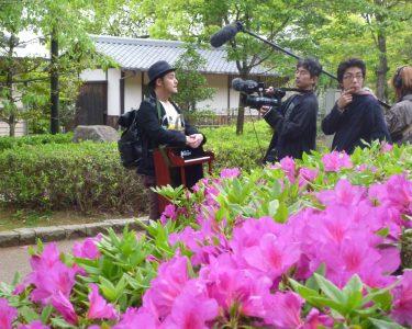 岐阜の街でテレビ撮影