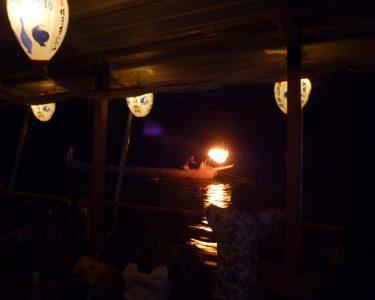 鵜飼船からの長良川鵜飼の風景